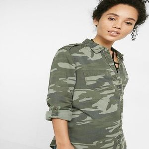 Express Boyfriend Distressed Button Down Shirt
